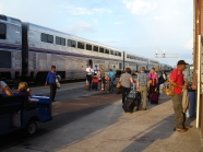 The Amtrak train, at Longview, Texas.