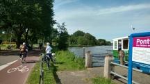 Getting off the bike ferry.